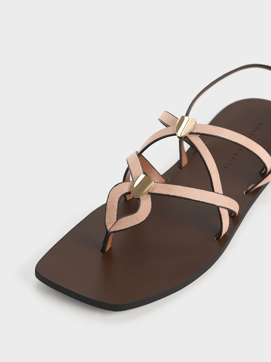 Criss Cross Metal Accent Textured Strappy Sandals, Nude, hi-res