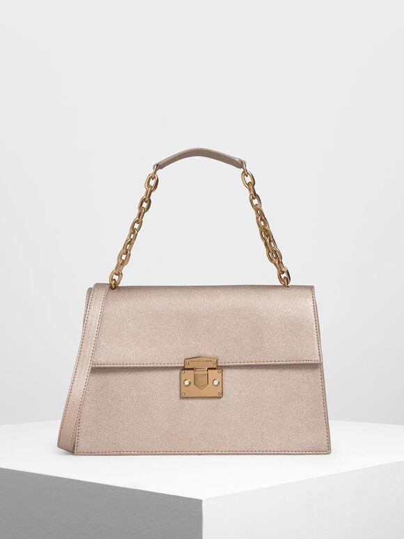 Chain Handle Shoulder Bag, Rose Gold, hi-res