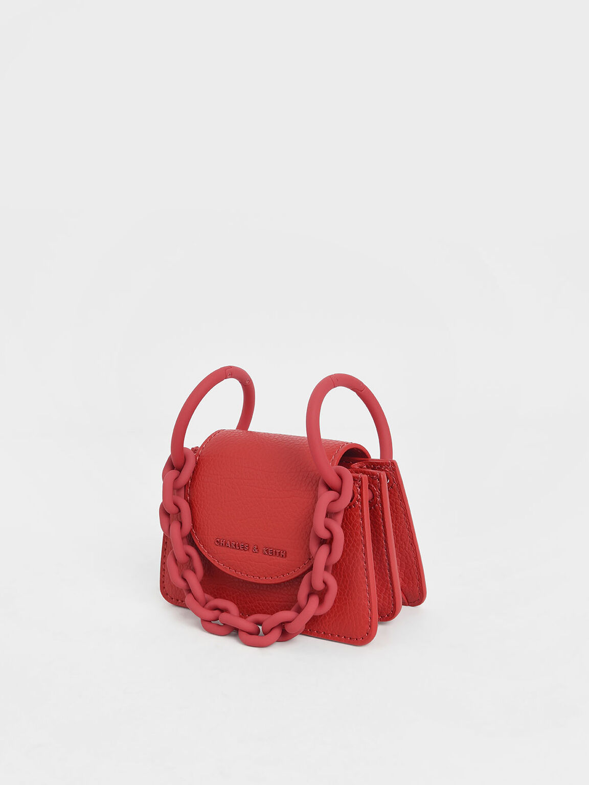 Chunky Chain Handle Mini Bag, Red, hi-res