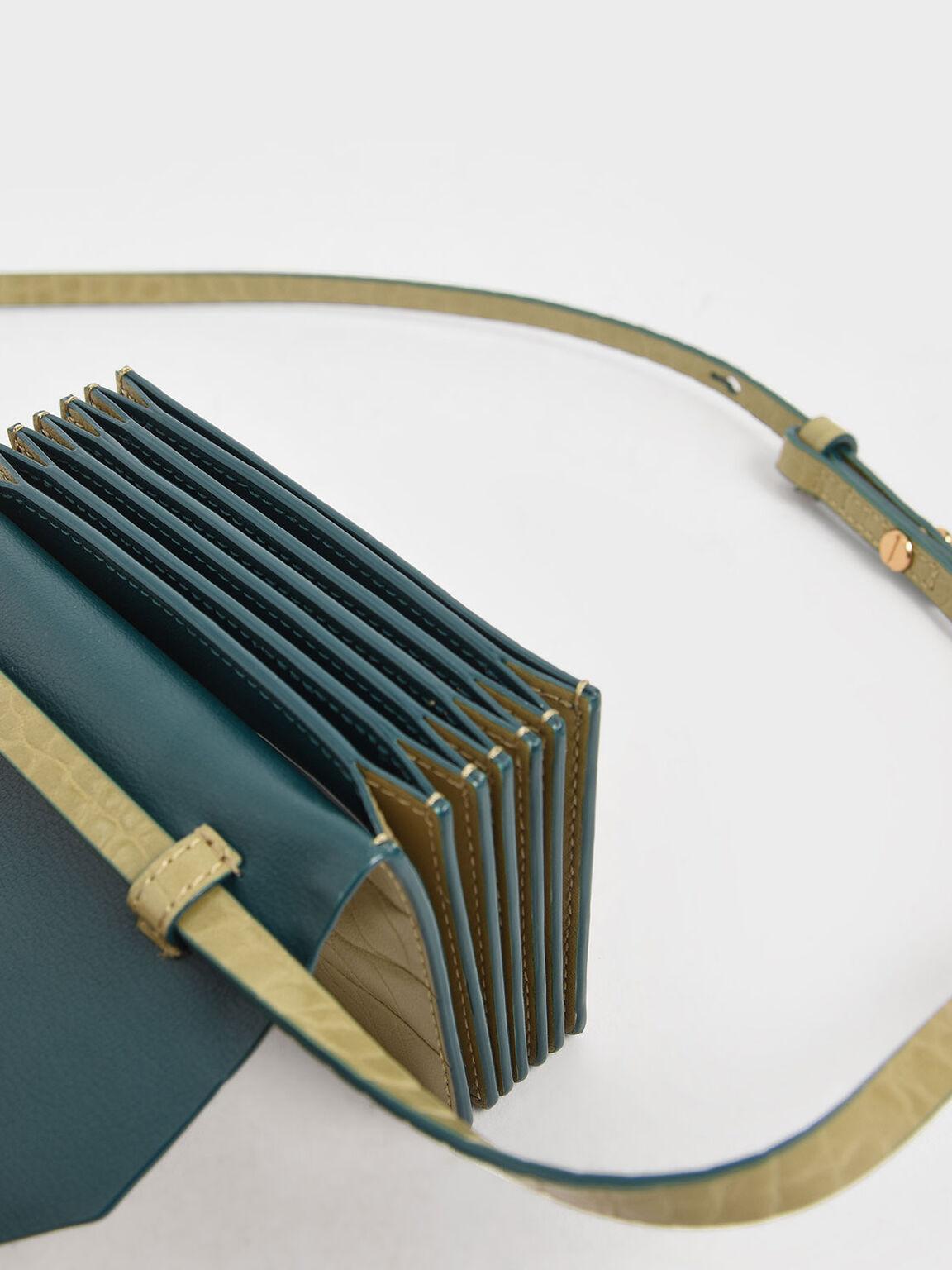 Croc-Effect Front Flap Card Holder, Sand, hi-res