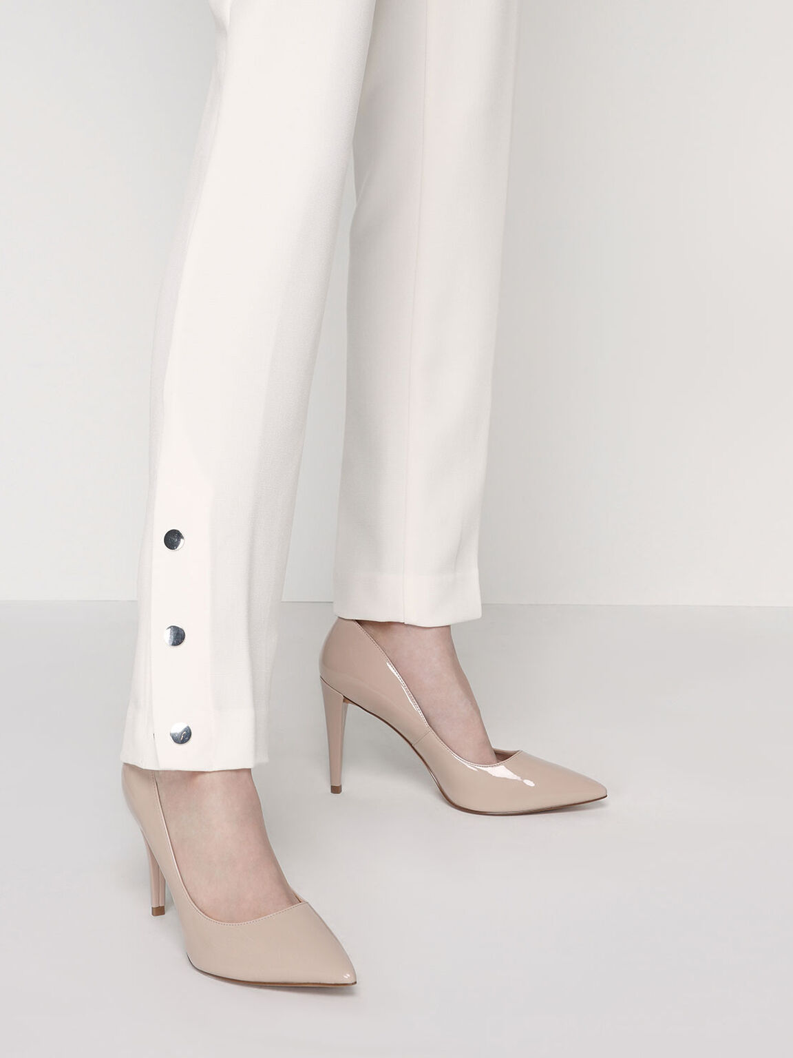 Patent Pointed Toe Stiletto Pumps, Nude, hi-res