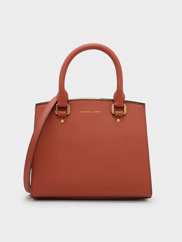 Classic Structured Handbag, Brick, hi-res