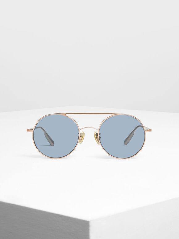 Semi-Precious Stone Round Sunglasses, Rose Gold, hi-res