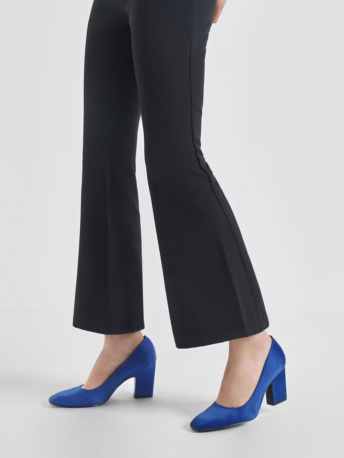 Satin Blade Heel Pumps, Blue, hi-res