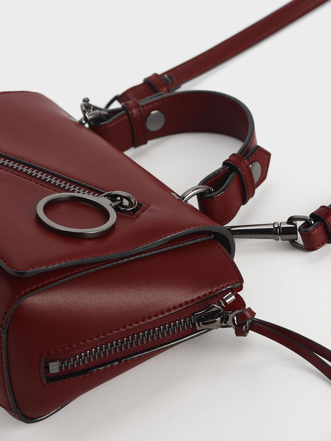 Ring Zip Pocket Trapeze Bag, Burgundy, hi-res
