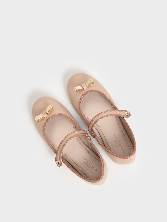 Girls' Metal Bow Mary Jane Flats, Nude, hi-res