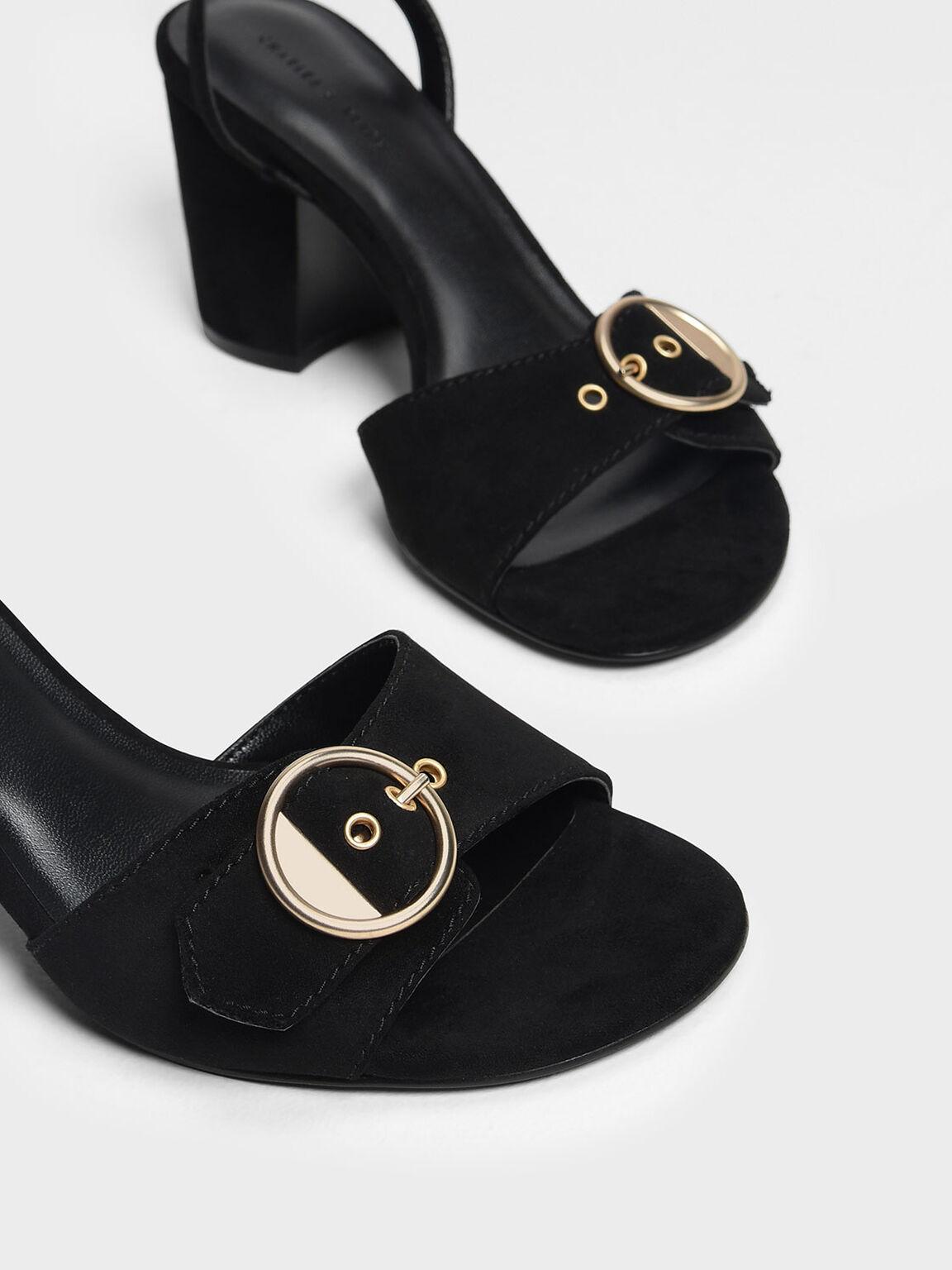 Gold Buckle Detail Heeled Sandals, Black, hi-res