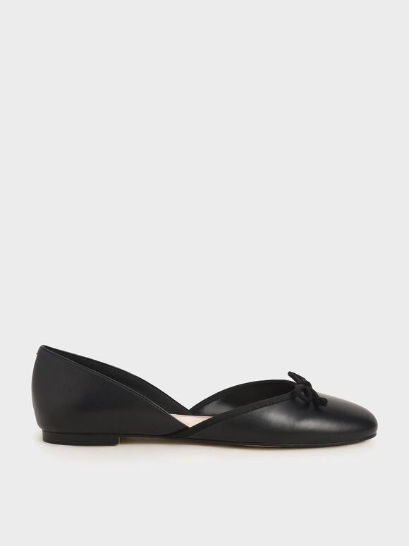 Bow D'Orsay Flats, Black, hi-res