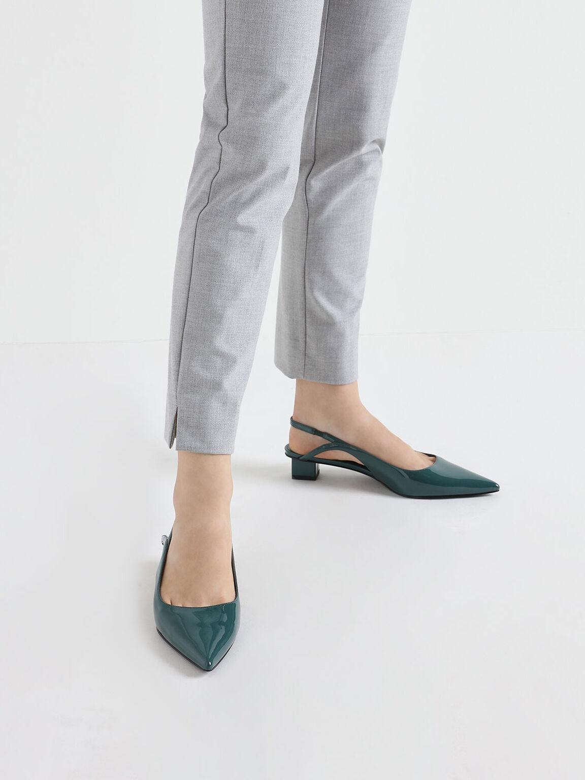 Low Block Heel Patent Slingback Pumps, Green, hi-res