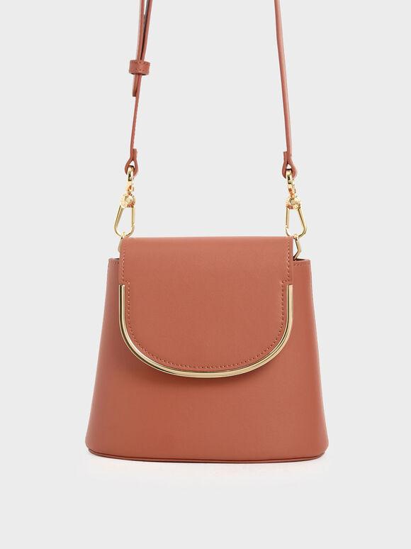 Metal Accent Leather Bucket Bag, Brick, hi-res