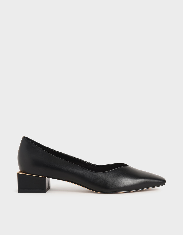 low block heel pumps black
