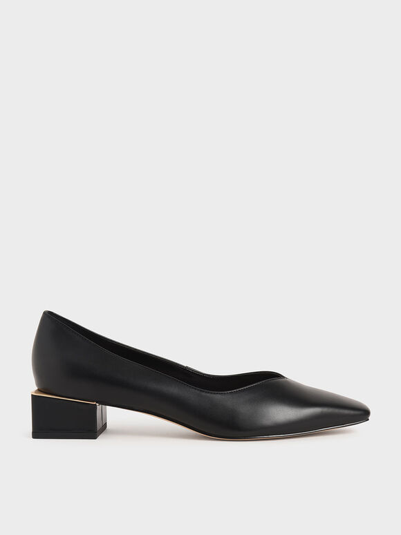 Block Heel Pumps, Black, hi-res