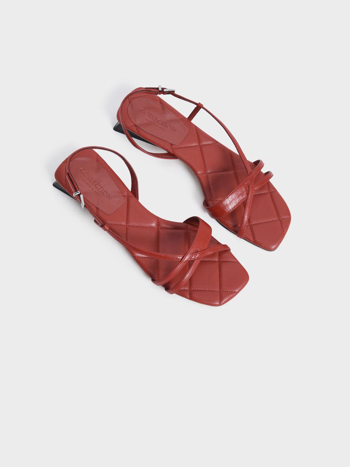 真皮交叉細帶涼鞋, 磚紅色, hi-res