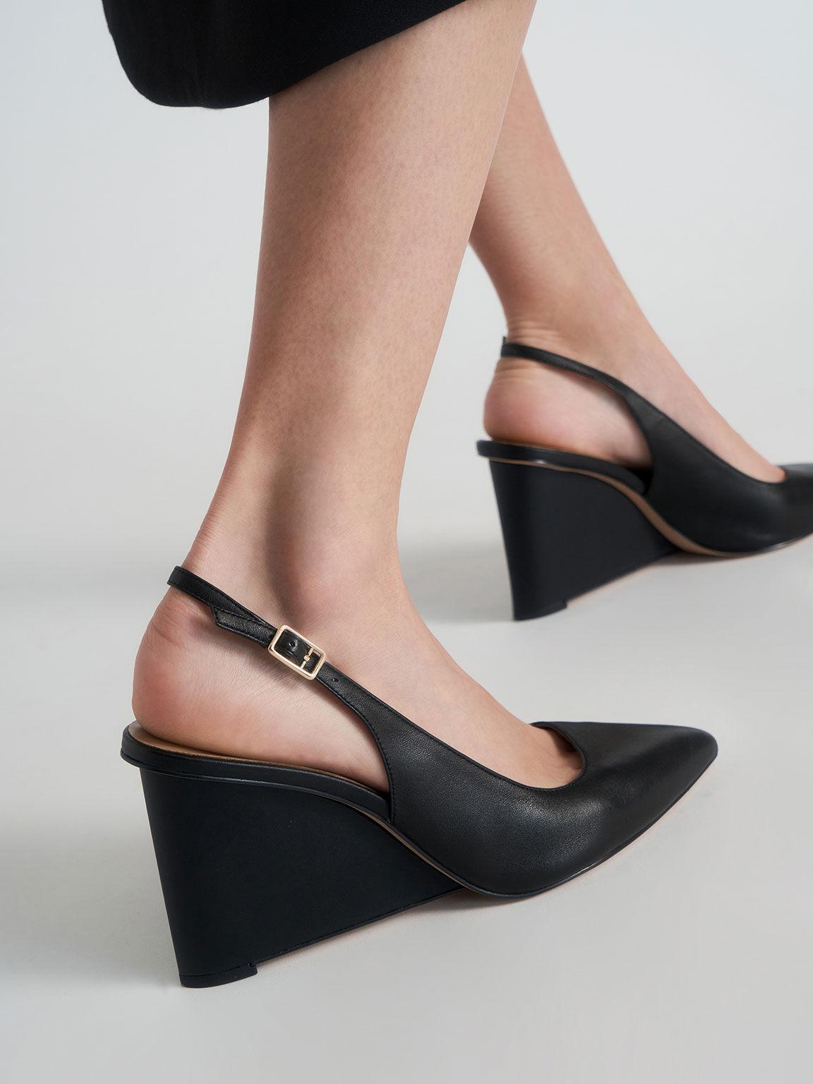 Leather Pointed Toe Slingback Wedges, Black, hi-res