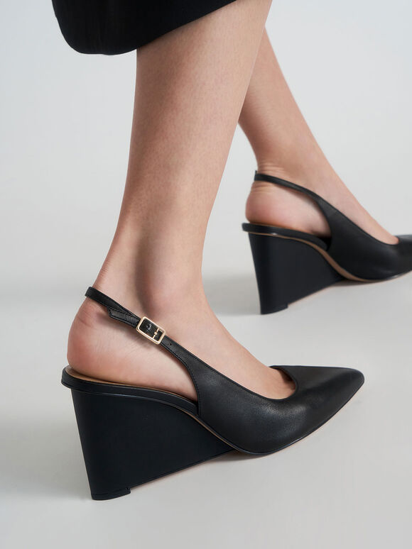 Leather Pointed Toe Slingback Wedges, Black, hi-res