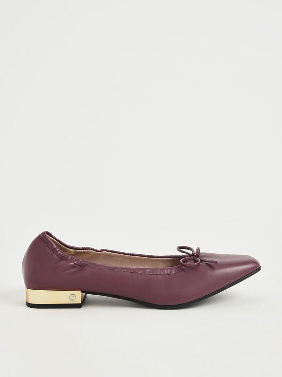 Bow-Tie Ruched Ballerina Pumps, Burgundy, hi-res