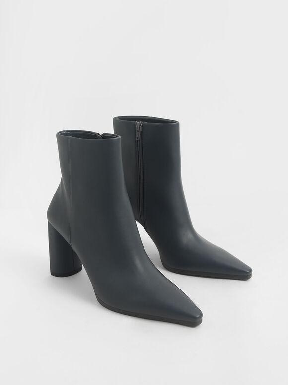 尖頭圓柱跟短靴, 灰色, hi-res