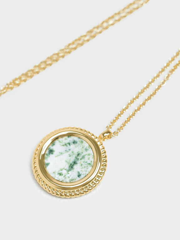 Tree Agate Pendant Necklace, Green, hi-res