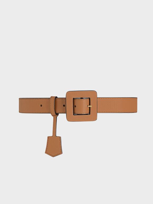 Oversized Buckle Belt, Brown, hi-res