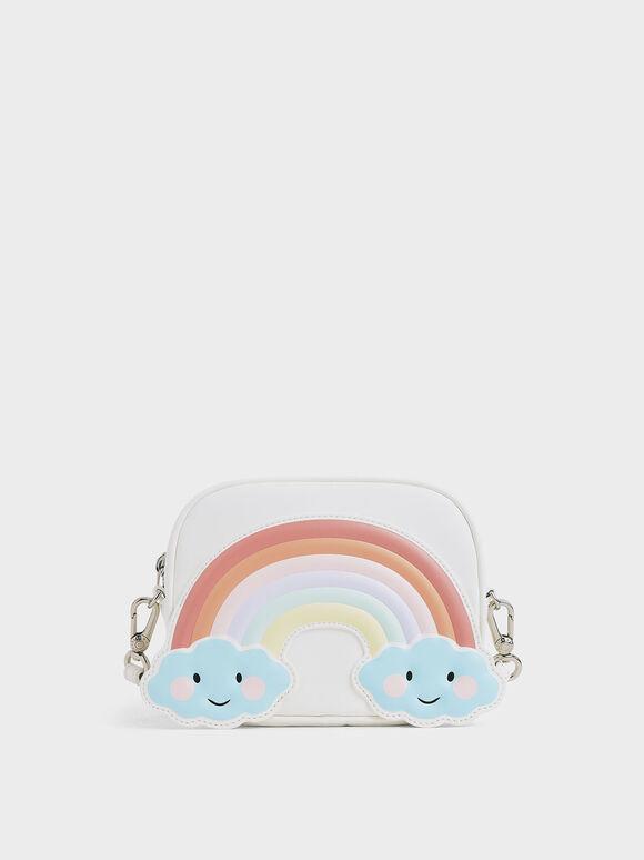 Girls' Rainbow Crossbody Bag, White, hi-res