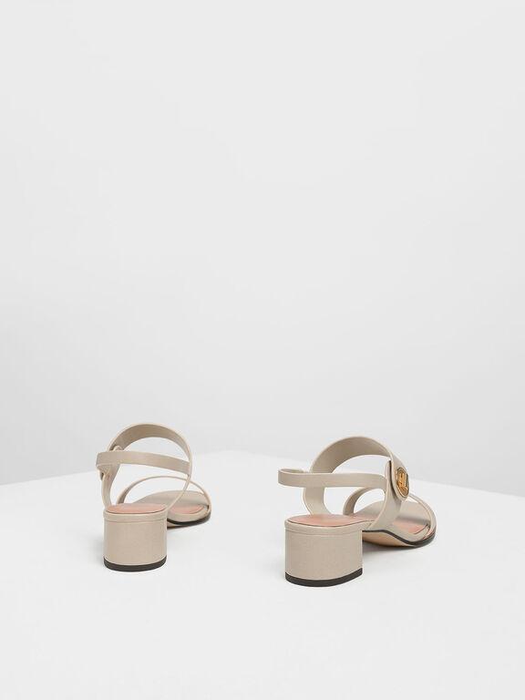 Open Toe Midi Block Heels, Chalk