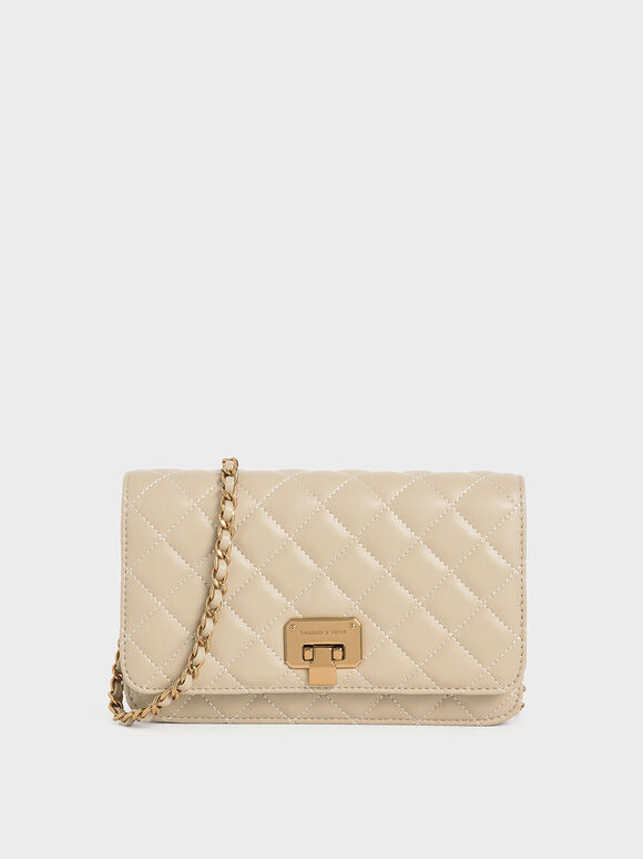 Quilted Flip-lock Clutch, Taupe, hi-res