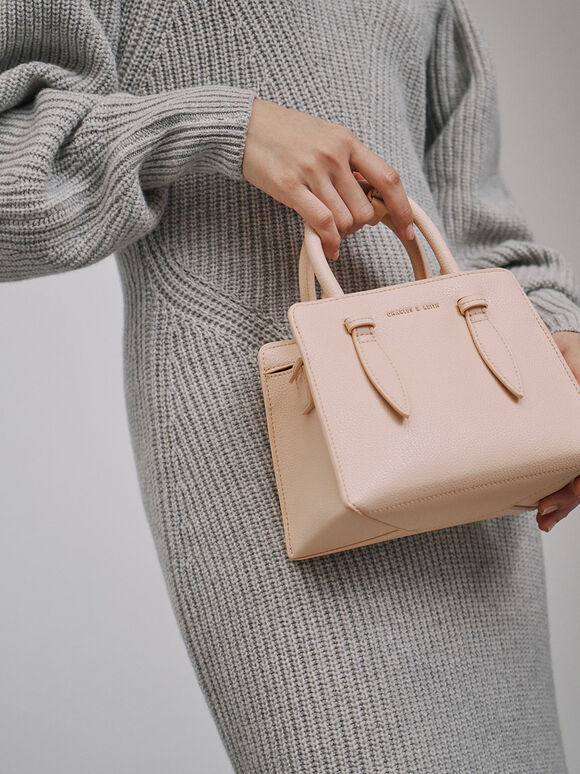 Double Top Handle Structured Bag, Nude, hi-res
