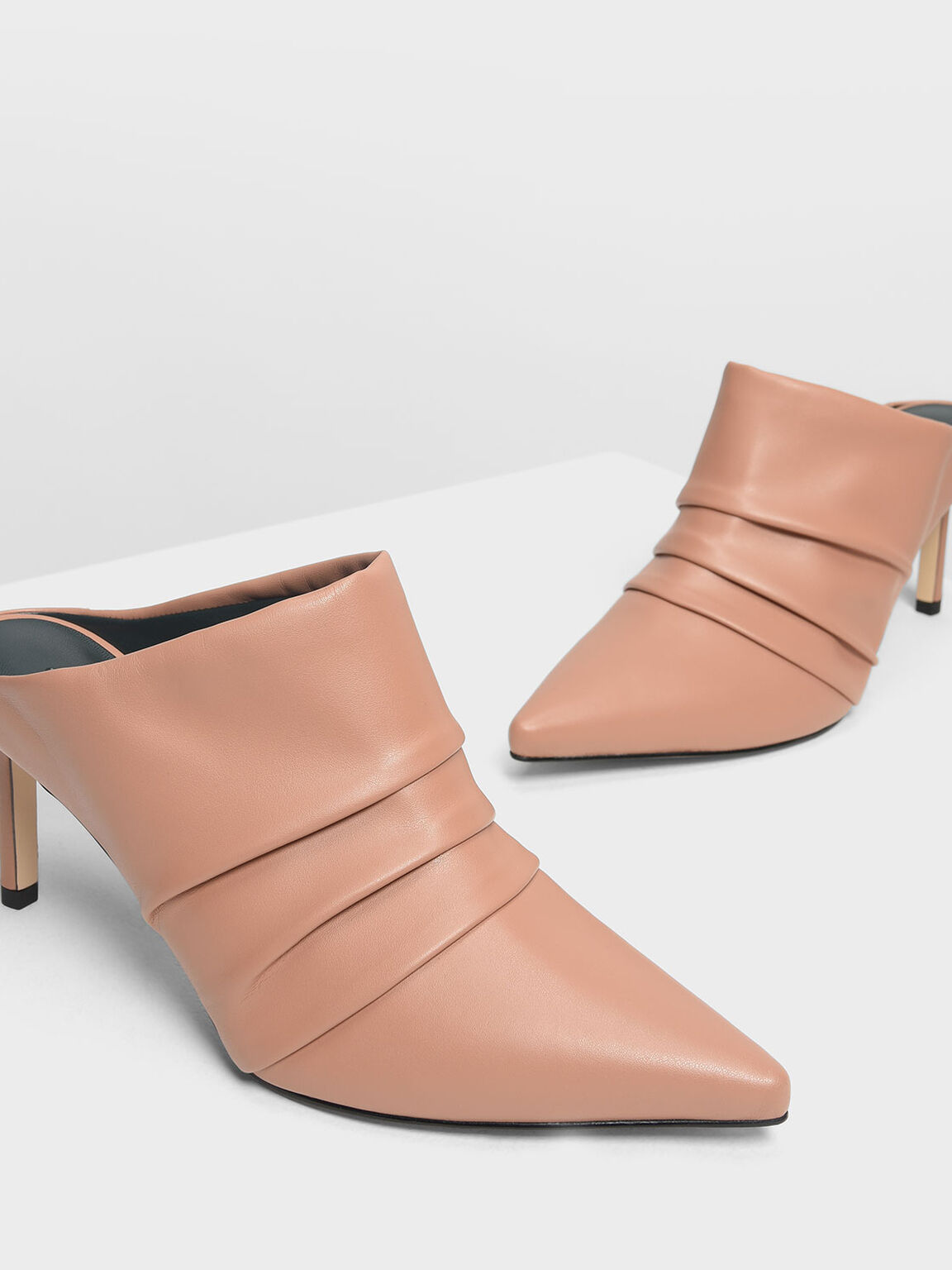 Ruched Heeled Mules, Nude, hi-res