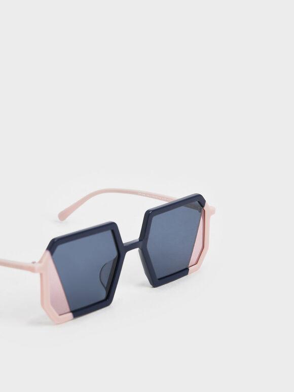 Two-Tone Geometric Sunglasses, Dark Blue, hi-res