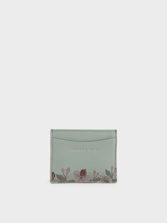 Floral Print Card Holder, Green, hi-res