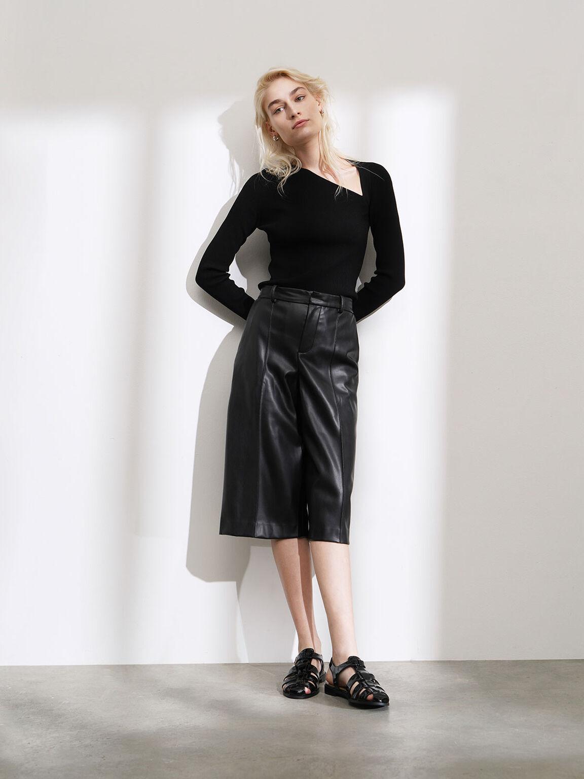 Patent Leather Caged Sandals, Black, hi-res