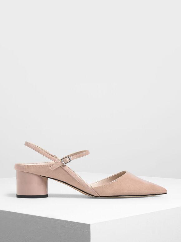 Circular Block Heel Slingbacks, Nude, hi-res
