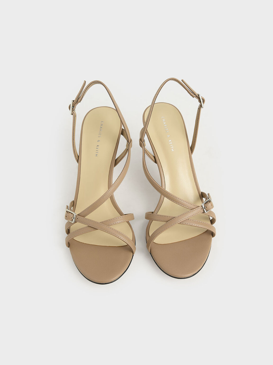 Strappy Slingback Heeled Sandals, Taupe, hi-res