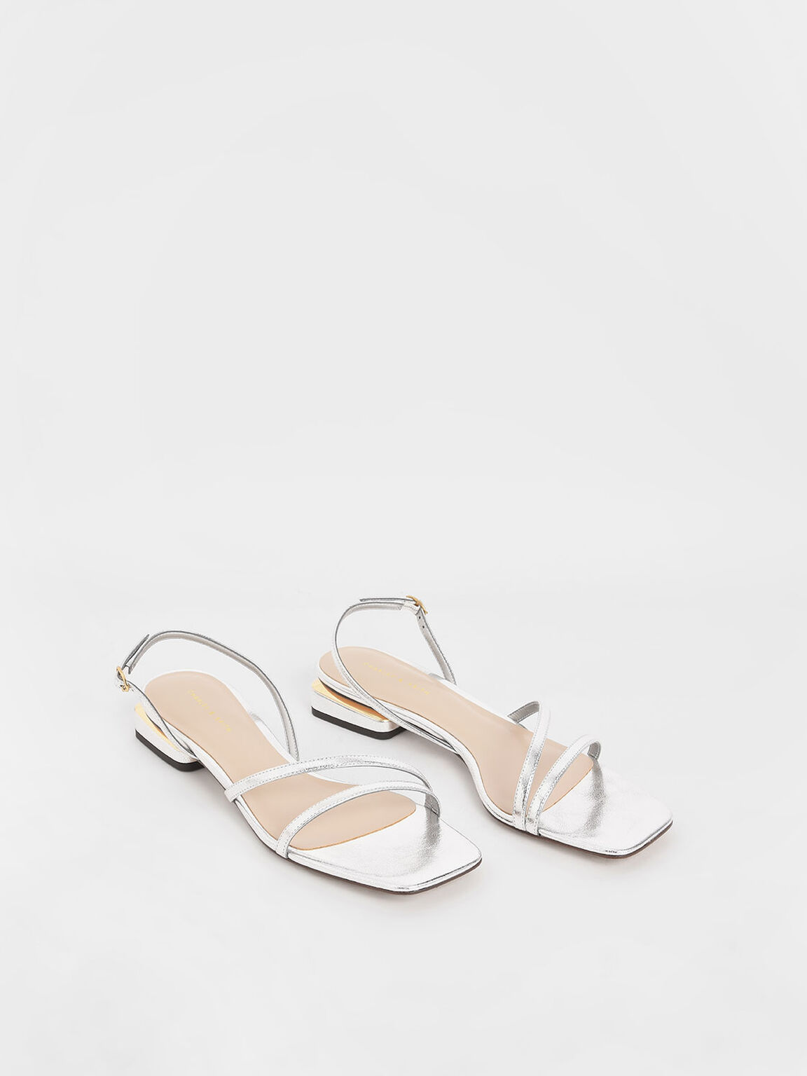 Metallic Strappy Slingback Heels, Silver, hi-res