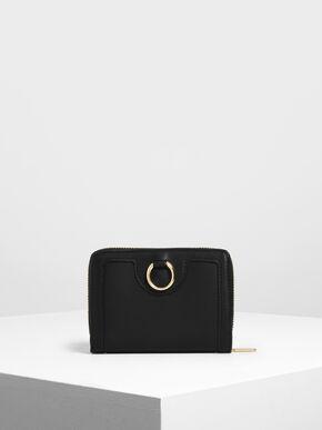 Ring Detail Wallet, Black
