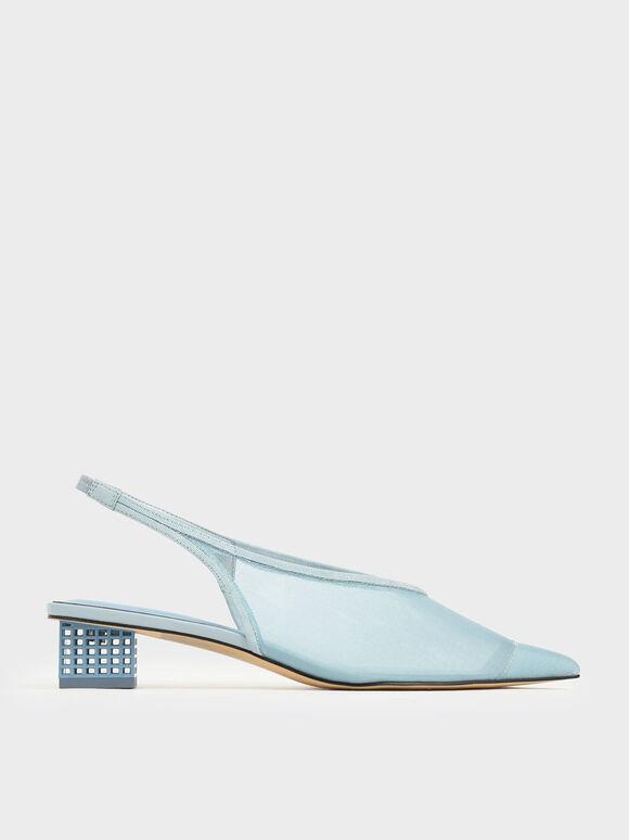 網紗尖頭粗跟鞋, 淺藍色, hi-res