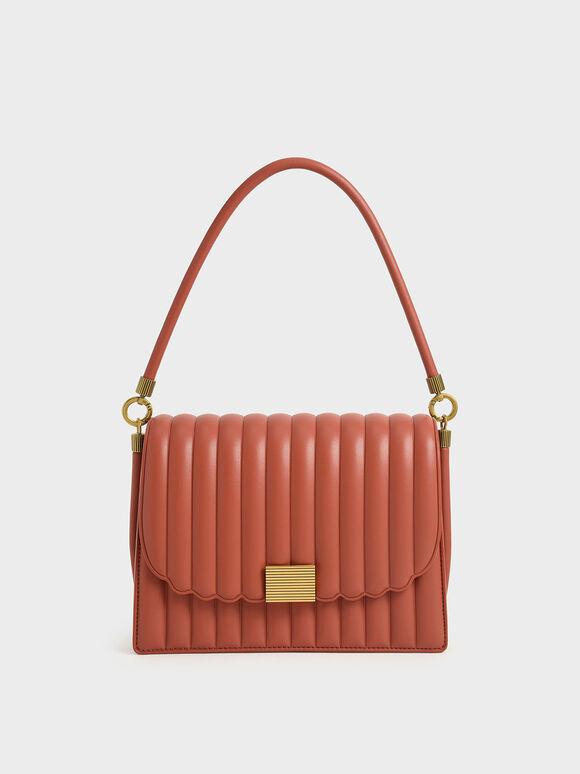 Panelled Shoulder Bag, Brick, hi-res