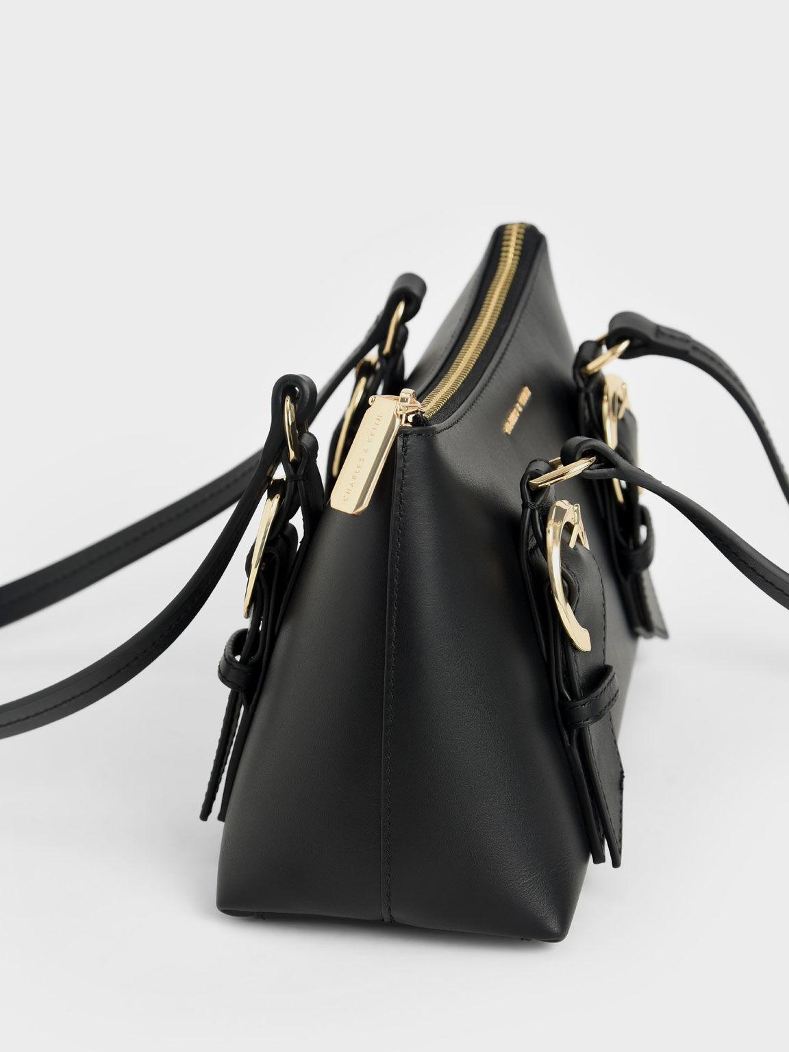 Ring Buckle Leather Shoulder Bag, Black, hi-res