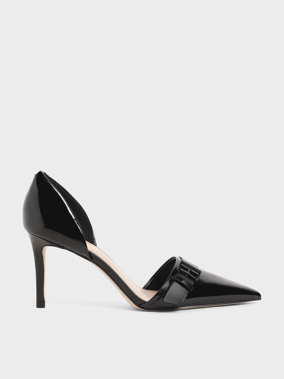 Patent Buckled D'Orsay Pumps, Black, hi-res