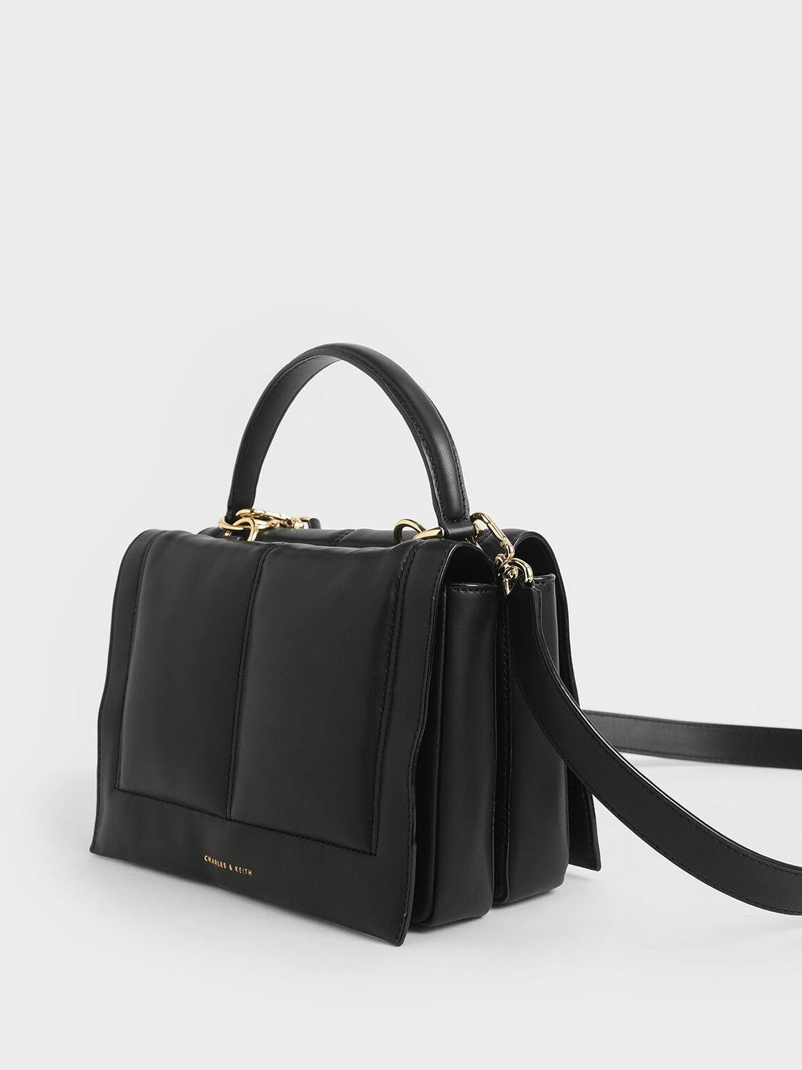 Quilted Top Handle Bag, Black, hi-res