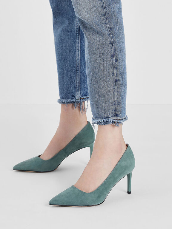 Classic Pointed Toe Pumps, Mint Green