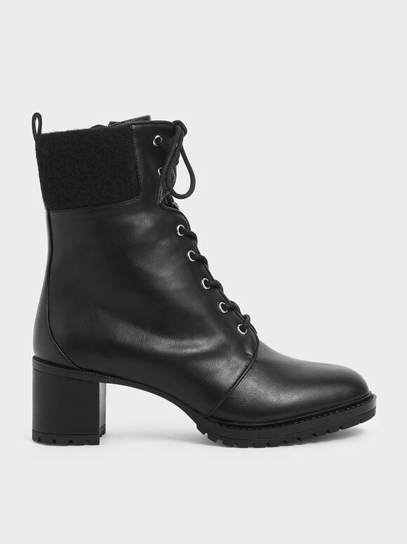 Wool Cuff Combat Boots, Black, hi-res