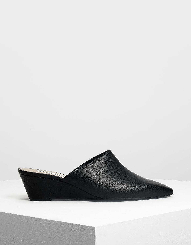 Black Closed Toe Low Wedge Mules