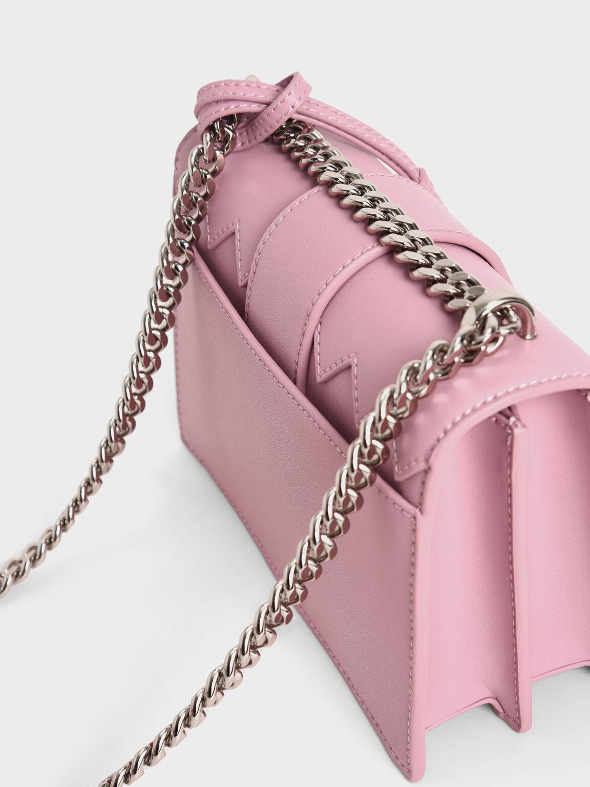 Metallic Buckle Sling Bag, Pink, hi-res