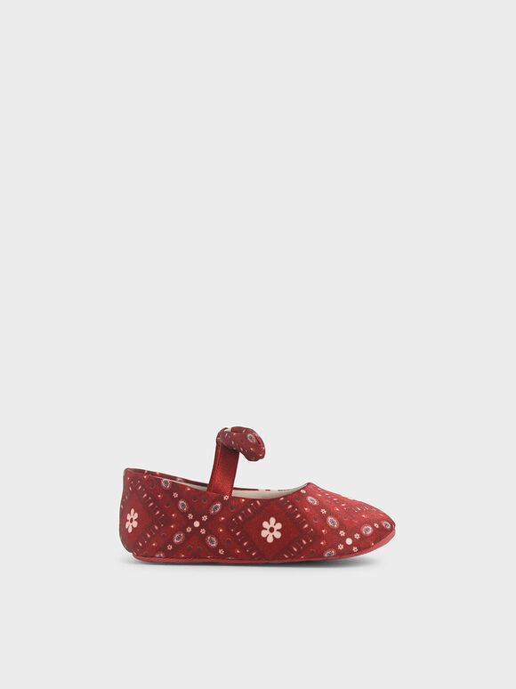 Summer 2020 Responsible Collection: Baby Girls' Bandana Print Bow Ballerinas, Red, hi-res