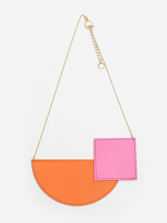 Geometric Shaped Necklace, Orange, hi-res