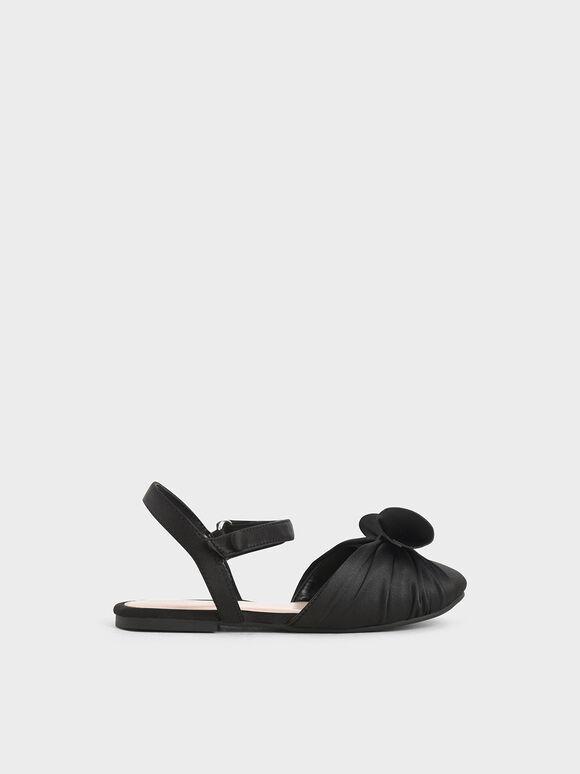 兒童蝴蝶結涼鞋, 黑色, hi-res