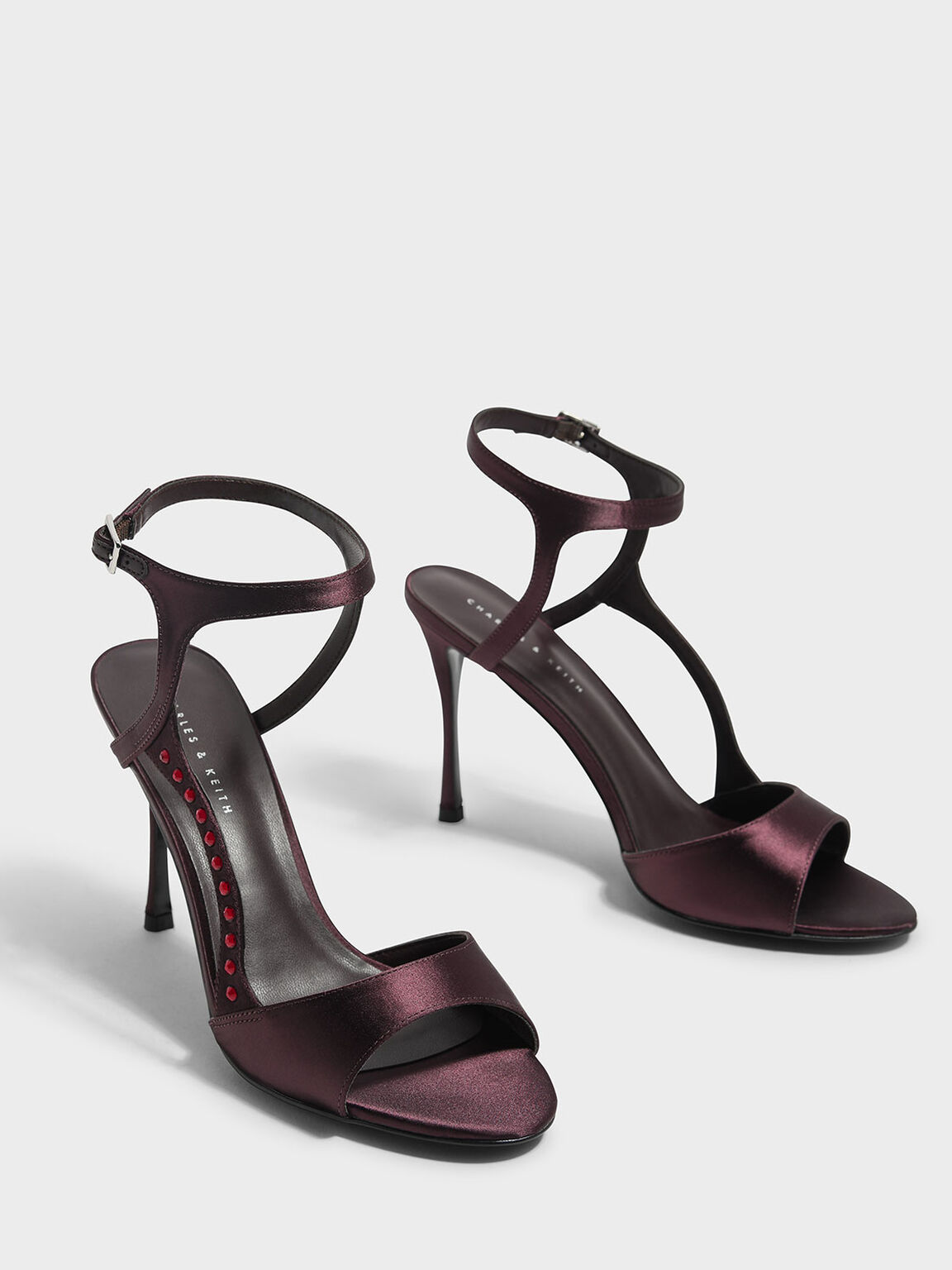 Embellished Heeled Sandals, Burgundy, hi-res