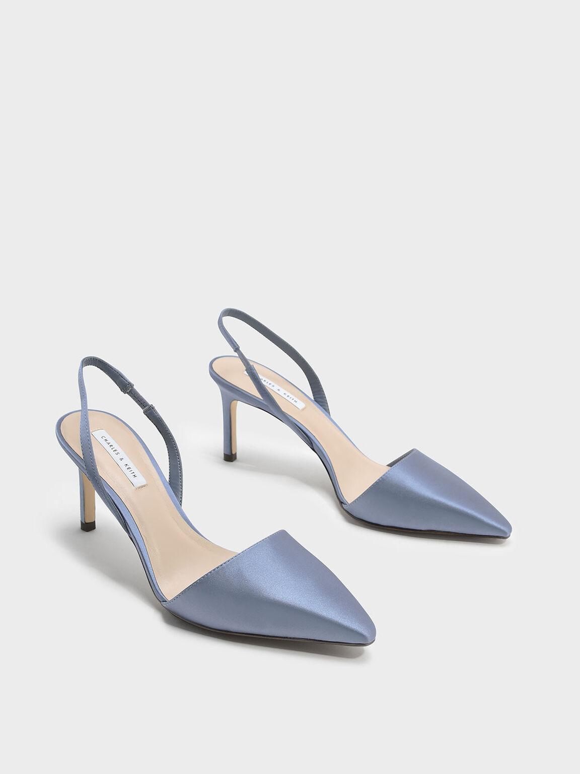 Pointed Slingback Heels, 블루, hi-res