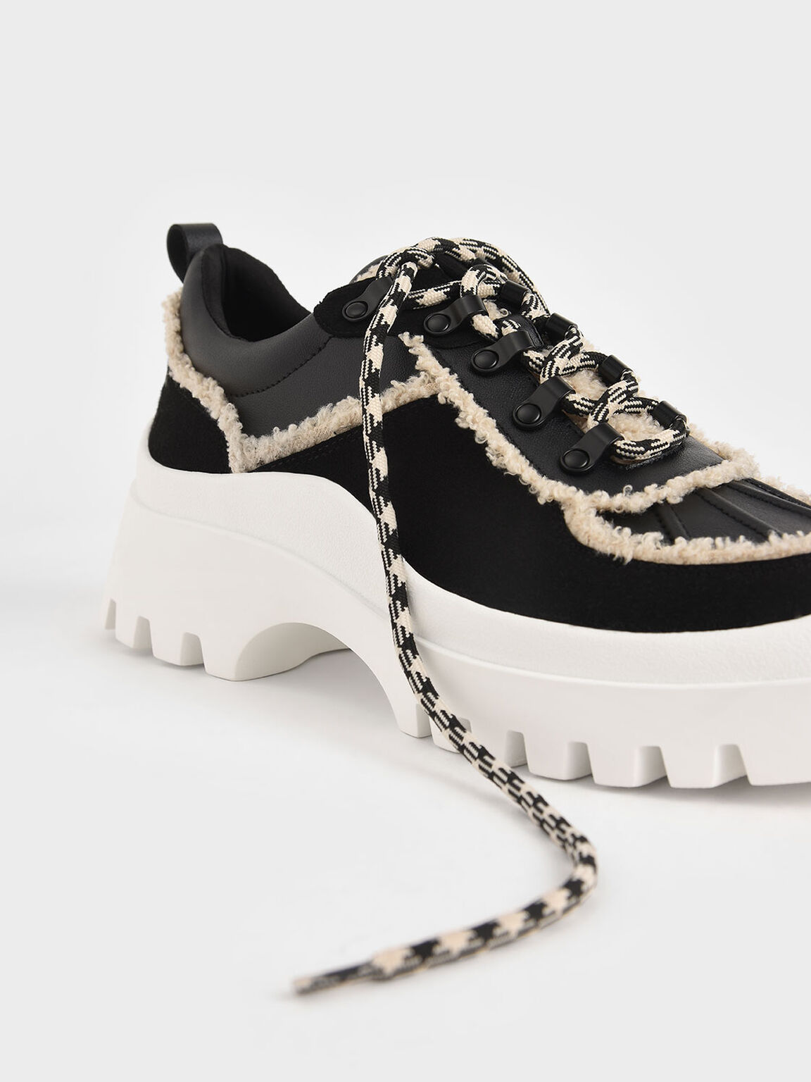 Microsuede Printed Lace Trainers, Black, hi-res
